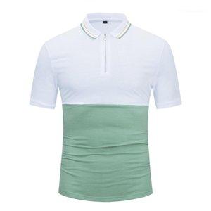 Casual Tshirts Kontrast Renk Baskılı çevirin Yaka Fermuar Tasarım Moda Erkek Giyim Yaz Erkek Designer Tops