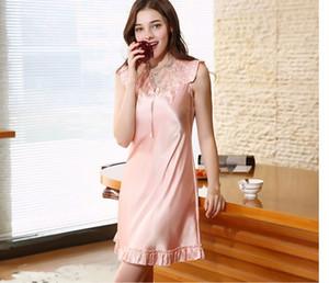 여성 실크 잠옷의 폭발적인 모델 여성 봄 여름 레이스 섹시한 nightdress 가정 서비스 세대