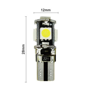 DHL Freeshipping T10 5050 5SMD T10 5 smd 5050 5led Canbus Error Free Car Lights W5W 194 5SMD LIGHT BULBS NO OBC ERROR White Blue Red