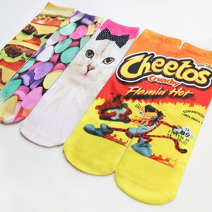 Un lado de impresión 3D calcetines Hombres Mujeres animadora de dibujos animados calcetines largos del gato del perro de caramelo A06 de impresión