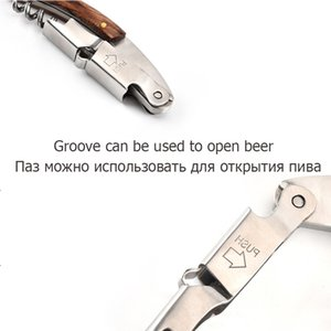 200pcs Wood Handle Professional Metal Wine Beer Opener Multifunction Portable Screw Corkscrew Bottle Openers With Knife High Quality