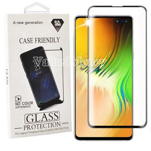 Для Samsung Note 10 плюс 5D Case Дружественные отпечатков пальцев unclock закаленного стекла Curve протектор края экрана для Galaxy S10 s9 s8 с пакетом