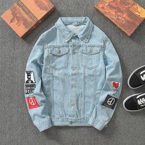 Ebaihui Men Streetwear Badge Printed Jeans Jackets Fashion Hip Hop Male Motorcycle Casual Slim Fit Denim Coat Outerwear Plus Size 5XL