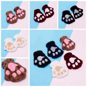Luvas crianças Fluffy Plush Moda menina do inverno Mittens patas Luvas Stage Executar Prop bonito do gato Presentes Garra Luva RRA2232