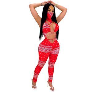 2020 Summer creux Sexy Out Paisley Femmes Jumpsuit Hot Bandage Crop Bodysuit décolleté manches femme Gym Sports Costume Costume One Piece M828