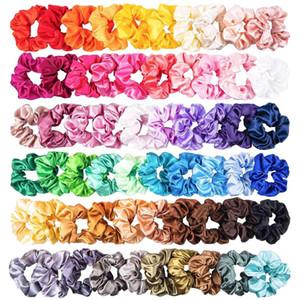 60PCS Bande solido Colore capelli di seta Satin Hair ragazze delle donne o gioielli Hairband adatto a Coda di cavallo Scrunchies della donna