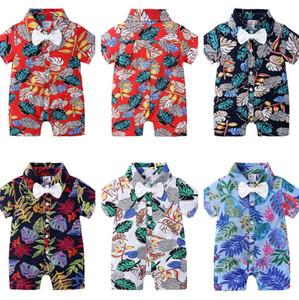 ملابس أطفال بنين السروال القصير القوس التعادل الزهور طباعة أطفال الرضع الطفل بذلة الصيف منامة ملابس CZ526 نمط هاواي