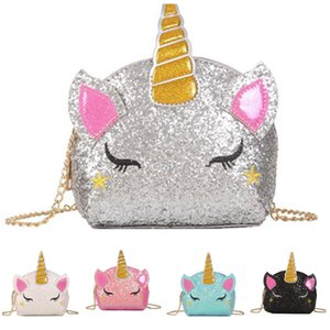 Glitter Unicorn Chain Coin Purse Cartoon INS Shoulder Bag Baby Kids Fanny Pack Waist Crossbody Girls Bags Cute Wallet Fashion Pouc Aqsum