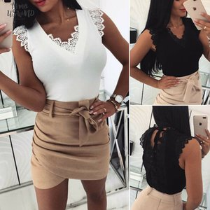 Women Summer Sexy T Shirts Tops Slim Fit Lace Short Sleeve V Neck Solid Skinny Top 2 Colors Casual Clothes