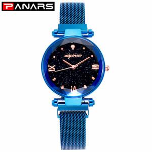 Luxo Feminino PANARS Moda relógios de quartzo Magnet Strap estrelado Feminino Business casual Quartz Relógio de pulso das senhoras 2019 azul novo