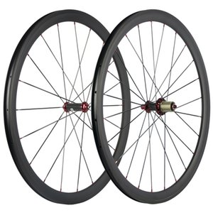 700C Clincher Carbon Wheelset Vélo de route UD Matte Carbon Hub Roues Rouge Rouge Nipples R36