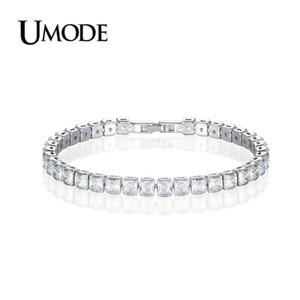 UMODE 2019 Nuovi braccialetti da tennis rotondi in cristallo per donna Uomo Rettangolo Quadrato Zircone Oro bianco Scatola lunga Catena di gioielli AUB0178