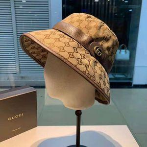 Luxus-Stoff vermischt klassische Buchstaben mit Ledergürtel Bucket Hat Fashion Falten können Caps Luxus-Fischer-Strand-Sonnenblende Folding Cap