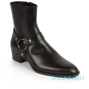 Classique Wyatt Western Bottes Hommes Marque Noir Style cuir Motorcylcle Bottes Hommes Chaussures Messieurs Automne Hiver C04