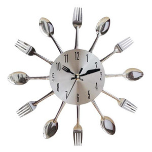 Paslanmaz Çelik Bıçak Çatal Kaşık Kitchen Restaurant Duvar Saati Ev Dekorasyon Duvar Saatleri Çok Fonksiyonlu Araçları