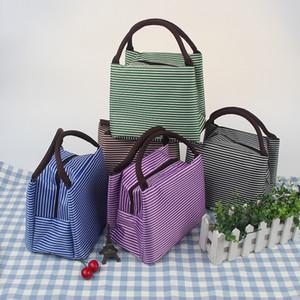 Мода Полосатый Lunch Bag 6 Цвет Студент Портативный водонепроницаемый алюминиевой фольги толщиной Обед Пикник сумка доставка DHL XD23181