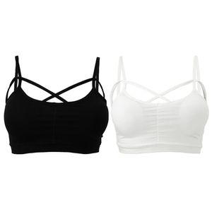 2019 Camisole rembourrée solide Sexy Crop Top Femmes Pad Bra Bustier Bralette Top Femme Dame Débardeurs Femme Noir Blanc