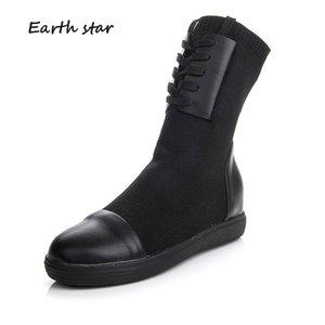 L'augmentation de Chaussures Femmes Mode Elasticité Bottes Lady automne fille Knitting chaussure noire footware Mi-mollet Bottes Med talon