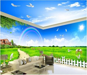 3d wallpaper custom photo murals Blue sky and white cloud grassland horse 3D theme space background stickers homedecor wall art pictures