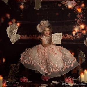 2020 Pink Princess Flor Meninas vestidos de bebê por Jewel Wedding Neck Floral 3D Bead Crianças Pageant vestido de baile Criança Comunhão Vestidos