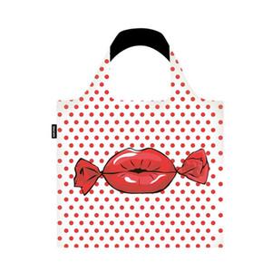 Mode Big Red Lips Imprimer Sacs à pois réutilisable pliant poche épaule portable Sac à main en polyester Sac Voyage