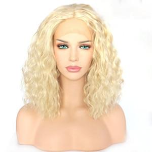 150% Dichte Aschblond Menschenhaar-Perücken verworrene lockige volle Spitze-Menschenhaar-Perücke Virgin europäische Spitze-Front-Perücke für Damen Farbe # 613