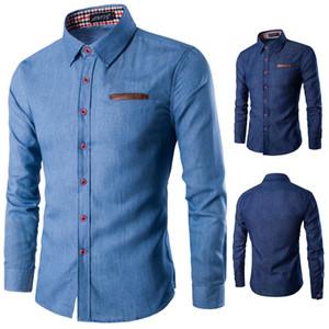 Mens Camisas Casual bolso da manta de algodão fino lapela camisa de manga longa Denim shirt Mens Top 3XL
