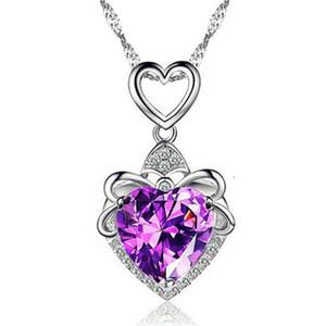 Azul Artificial Opal de fogo Coração Pingente de Prata Cheio Colar do amor presente do dia dos namorados Engagement Wedding