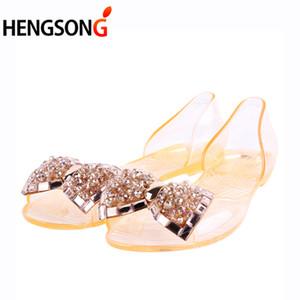 Sandals PVC Mulheres de Verão 2018 Novos sapatos confortáveis BowNot Apartamentos para Mulher Tampa Heel Slip On Transparente Jelly Shoes calçados