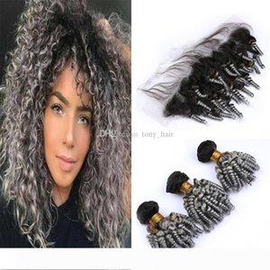 Cepheyle ile Frontal Dantel Kapanış Siyah ve Gri Ombre Bouncy Romance Bukleler İnsan Saçlı Koyu Kökler Gri Ombre Funmi Kıvırcık Saç Paketler