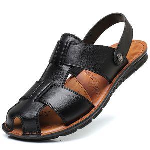 Hot 2019 Big Size Men's Sandals Summer British Fashion Man Genuine Leather Beach Shoes Men Massage Non-Slip Large Slippers Flats