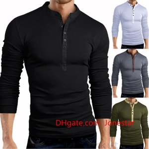 Hot Sales Spring Autumn Mens Slim Fit V Neck Button Long Sleeve Muscle Tee T-shirt Casual Tops Henley Shirts