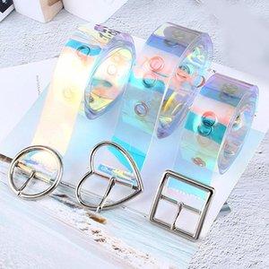 Cintura cintura Donne New olografica laser Cancella Pin fibbia in metallo cinghie di vita trasparente per le donne del cinturino 90 centimetri-120 centimetri