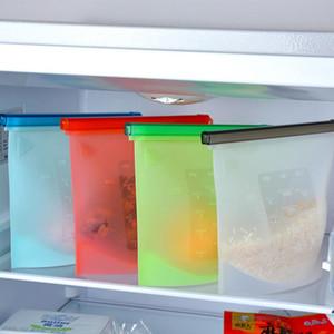 Grande alimentari dimensioni in silicone cucina fresco sacchetto di congelamento sacchetti sottovuoto riscaldamento sigillante chiusura lampo del sacchetto del contenitore di stoccaggio per frigo / forno a microonde