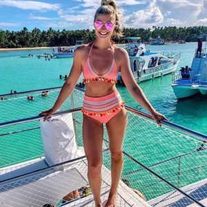 YCDYZ hohe Taillen-Bikini 2019 Sexy Boho Bademode Frauen Pom Pom Quasten Badeanzug Push-Up-Badeanzug brasilianische Biquini Bademode