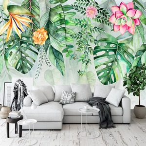 Photo Wallpaper Modern Simple Green Leaves Plant Murals Living Room Dining Room Self-Adhesive Waterproof Canvas Papel De Parede