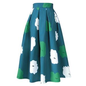 20190722 New women's high-waist umbrella skirt spring elegant half-length skirt size can be customized