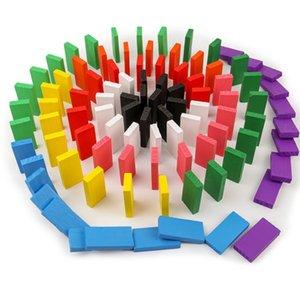 120Pcs 나무 레인보우 도미노 랠리 블록 스태킹 빌딩 교육 장난감