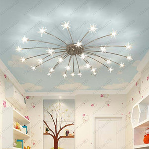 Hot sales Modern Novelty Children's Room LED Chandelier Ceiling Star Fixtures Home Lighting Bedroom Living Room Lamps Free shipping