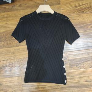 Milan piste T-Shirt 2020 Printemps Été O cou Tôlé femmes de T-Shirt Pull Femmes Designer T-Shirt 0417-30