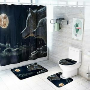 4 pçs / set banheiro cortina de chuveiro de poliéster antiderrapante capa de toucador conjunto de tapetes