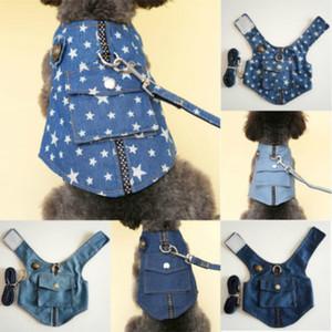 Pet Dog primavera-estate del gatto del cucciolo Security Vest Cowboy Denim Collari cablaggio pelo animale domestico vestiti Abbigliamento Costumi