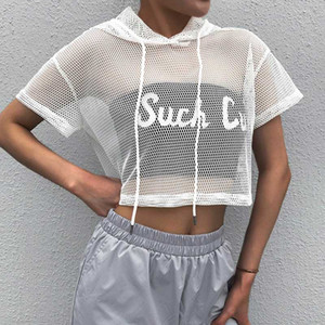 Spring Summer Top Women Perspective Sexy Top Loose Mesh Short Sleeve T-shirt Spring Summer Ladies Casual T-Shirts Ladies