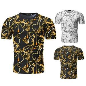 Venta al por mayor del diseñador del Mens camisetas de la cadena de oro 3D Impreso barroco camiseta de manga corta de verano de lujo Royal para hombre Ropa de Hip Hop tes de las tapas