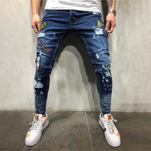 Yaz Delikler rozetleri etiketleme gençlik moda trendi kot 2019 yeni moda hip hop kot işlemeli var
