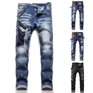 2020 رجل المتعثرة مزقت تمتد أسود أزرق جينز أزياء صالح سليم غسلها سروال جينز موتوكيكلي نصب منصة الهيب هوب بنطلون T1059