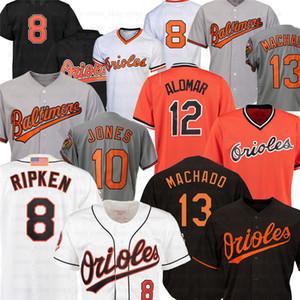 BaltimoreOriol beyzbol formaları 8 Cal Ripken Jr 13 Manny Machado 12 Roberto Alomar 10 Adam Jones triko