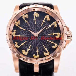Orologio de Luxo RDDBEX0511 alta qualidade de aço inoxidável Mesa redonda 12 cavaleiro mens discagem relógios automáticos 2813 movimento de couro