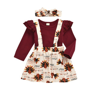 Thanksgiving baby outfits girls Flying sleeve top + Turkey print suspender skirts + headbands 2pcs set fashion kids Clothing Sets M2232