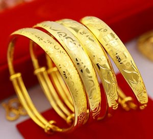 18K gold Plated bracelet thickening plus re-love pattern laser printing bracelet 10mm push-pull bracelet